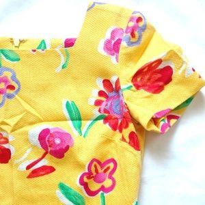 Vtg Evan-Picone Petite Yellow Floral Mini Dress 4p